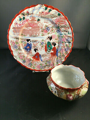 "Vintage Handpainted Japanese Geisha Girl 1 1/2"" Plate & Small Decorative Bowl"