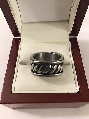 ED Force Square Mens Ring Silver And Black Size 9