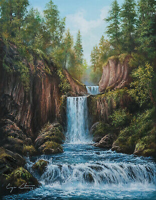 J. Litvinas Original Oil Painting 'WATERFALLS' 14 by 18 inches