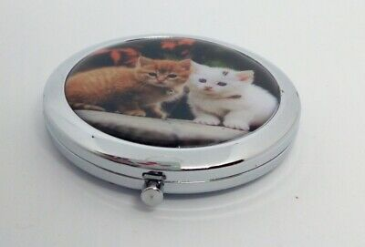 Ginger White Cats Kittens Cosmetic Make Up Mirror