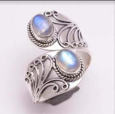 Women Men's 925 Silver Moonstone Band Ring Fashion Wedding Party Jewelry Size 8