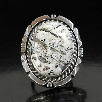 White Buffalo Ring Vintage Style Silver Native American Jewelry Navajo Large