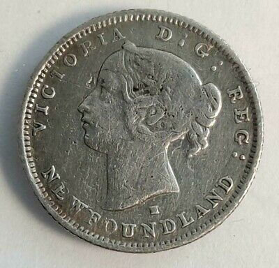 Canada Newfoundland 1876 H 5 Cents Rare Five (Cleaned) Low Mintage