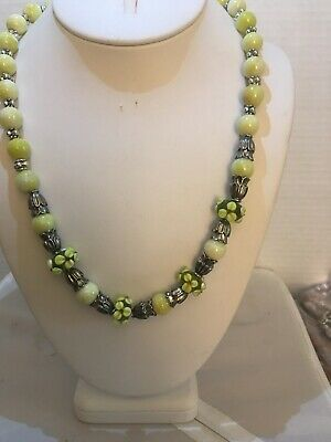 Handmade Necklace Of Lemon Jade And Lampwork And Silver Spacers