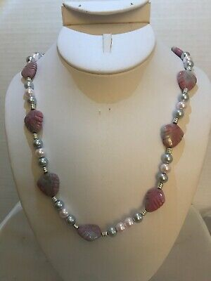 Handmade Necklace Of Rhodonite And Glass Pearls