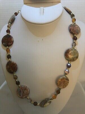 Handmade Necklace Of Red Crazy Lace Jasper