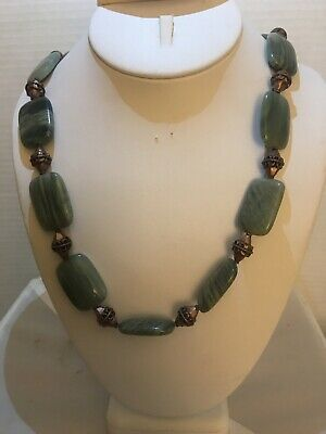 Handmade Necklace Of Green Jasper And Copper Beads