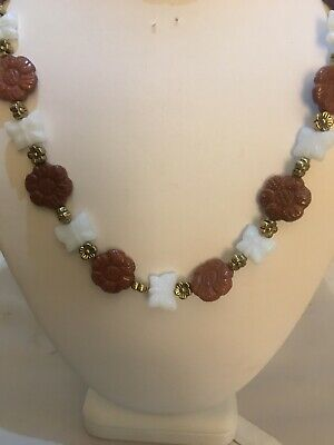 Handmade Necklace Of Goldstone And Czech Glass Beads