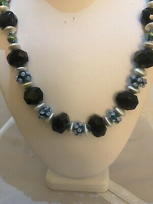 Handmade Necklace Of Forest Green Goldstone And Lampwork Beads