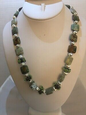 Handmade Necklace Of African Opal And Lampwork Beads