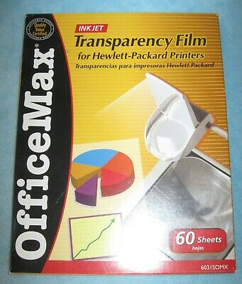 OFFICE MAX Transparency Film Inkjet; for Hewlett-Packard Printers; 40 Sheets
