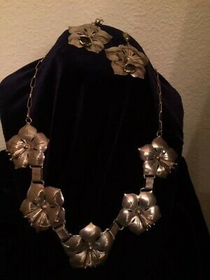 Sterling Silver Necklace & Earrings -Eva King- Navajo Silver Necklace