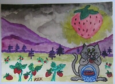 ACEO Original Watercolor Cat By the Light of the Strawberry Full Moon No 154 KEK