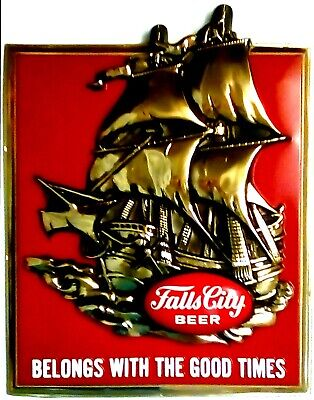 1963 LUCKY LAGER BEER Vintage Look REPLICA METAL SIGN MAN WOMAN SAILBOAT SAILING