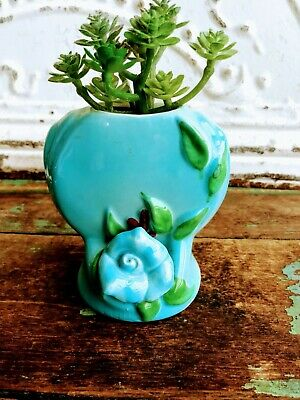 Vintage Turquoise Blue Heart & Flower Small Pottery Vase