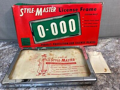 Size M Vintage NOS Style-Master Chrome License Plate Frame Hot Rod Rat