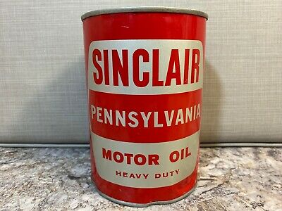 Vintage NOS Sinclair Pennsylvania SAE 10-W Heavy Duty Motor Auto Oil Can - Full