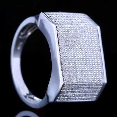 Men's Jewelry Diamond Engagement Estate Band Ring Size 10#Solid 10K White Gold