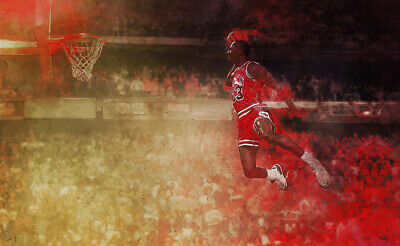 Hand Painted Oil Painting on Canvas Art - Michael Jordan - 1988 Dunk Contest Win