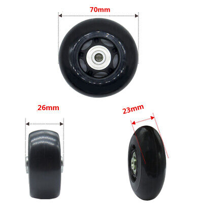 2 pcs Luggage Suitcase Replacement Wheels OD:70x24mm Axles+ Wrench