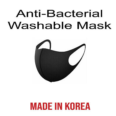 Unisex 3D Face Mask Washable UV Protect Reusable Comfy Made in Korea-Black/White