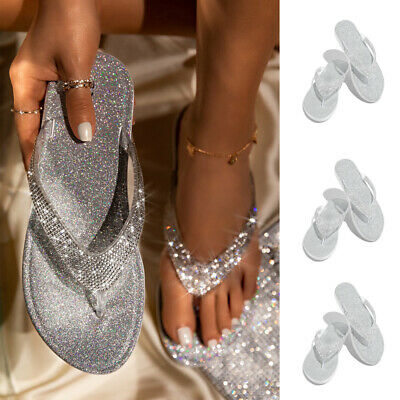 Womens Glitter Crystal Flip Flop Thong Sandals Ladies Bling Summer Beach Shoes