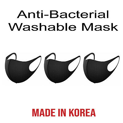 (3Pcs) Unisex 3D Face Mask Reusable UV Protection Comfy Washable Made in Korea