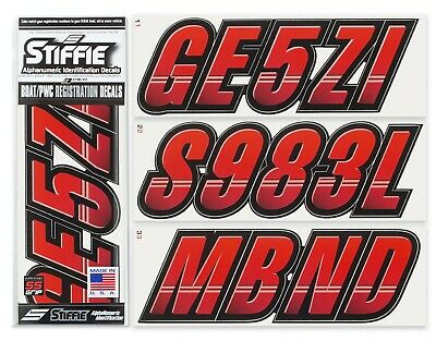STIFFIE Whipline Solid WLS07-SS Spark Registration Numbers Decals RED BLACK
