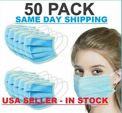 50 PCS Face Mask Medical Surgical Dental Disposable 3-Ply Ear-loop Mouth Cover