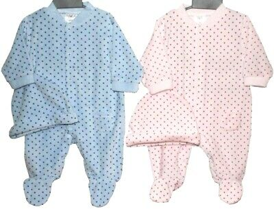 Baby Girl/Boy Spotted Velour Romper & Hat- Newborn, 0-3, 3-6 Months Pink or Blue