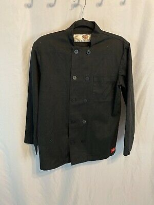 Dickies Chef Jacket XS 32/34 Plastic Button Black Uniform Chef