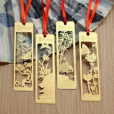 4 pcs/lot Creative Chinese style gold metal bookmarks plum blossoms orchid bam…
