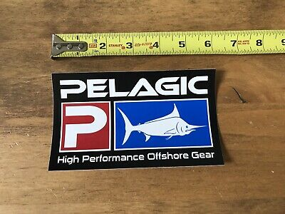 """Pelagic Blue White  Red Fishing Offshore Sticker//Decal Approx 6/"""" Authentic!"""