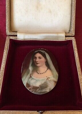 Antique 19th Century Hand Painted Porcelain Miniature Woman w/ A Veil La Velata