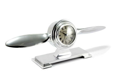 Table Clock Mantel Metal an Aircraft Propeller Pilot Watch With Alarm Function