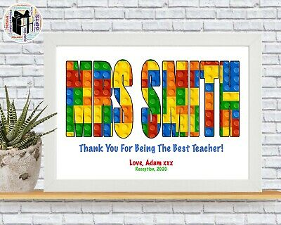Personalised Lego Wall Name Teacher End Of Year Gift School Novelty Unusual Gift