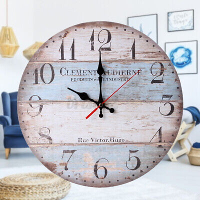 Natural Stain Finish Oversized Wall Mount Round Wooden Plank Clock Kitchen Decor