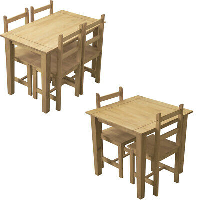 Solid Pine Antique Waxed Rustic Dining Table and 2 4 Chairs Set Home Furniture