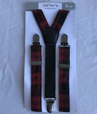 Carters Boys Suspenders Age 3 and Up Red Plaid NEW