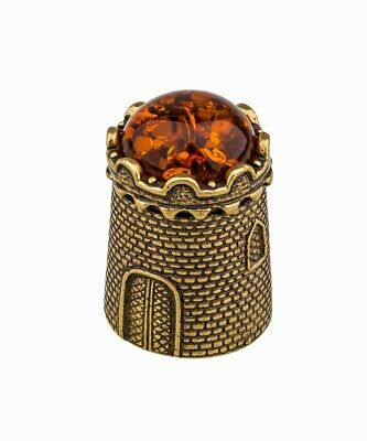 Thimble GOLDFISH Fishes with BALTIC AMBER Solid Brass Metal Russian Souvenir