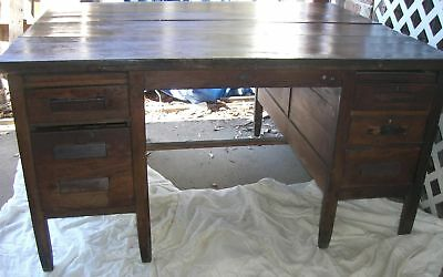 Antique  Oak Partner Desk Arts Craft Mission style