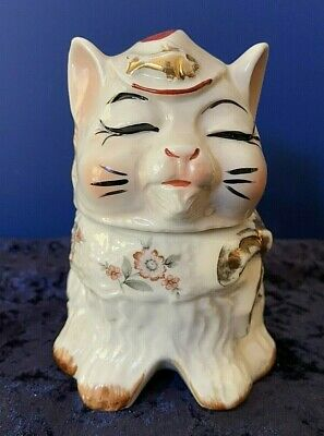 Rare Sugar Puss Pottery Cat Sugar Shaker Hand Painted Possibly Twin Winton Ca For Sale Picclick