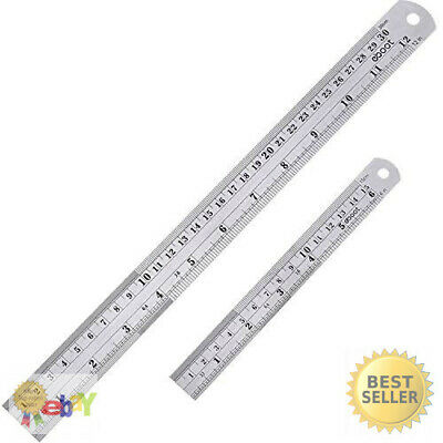 30//50//60cm Double Sided Stainless Steel Ruler Metal Rule Metric Imperial Well