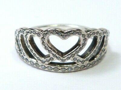 Clear CZ Tiara Crown Filigree Heart Ring New 925 Sterling Silver Band Sizes 5-10