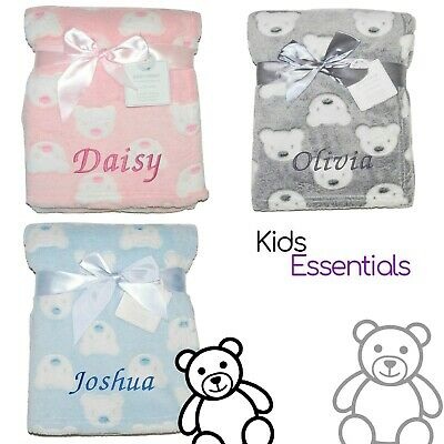 Baby Girl Boy Personalised Blanket Embroidered Name Grey Pink Blue Teddy Bear