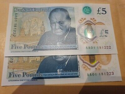 New £5 Note AA01, Low serial consecutive number. Excellent Condition.