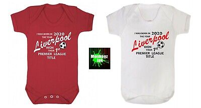 Boys White Cotton Liverpool Champions 2020 Babies Vest Bodysuit Baby Grow Newborn