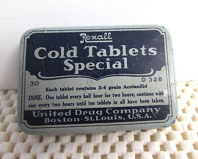 Vintage REXALL COLD TABLETS SPECIAL TIN by UNITED DRUG CO. BOSTON FIRST AID ITEM