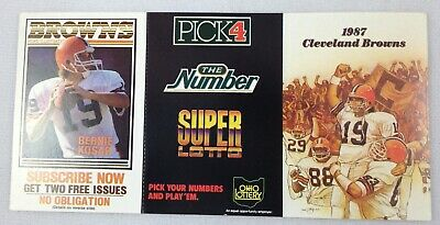NFL 1987 Cleveland Browns UNFOLDED Pocket Football Schedule - Ohio Lottery
