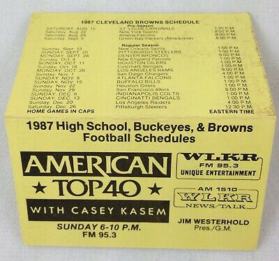 NFL 1987 Cleveland Browns, Ohio State and High School Combo Schedule